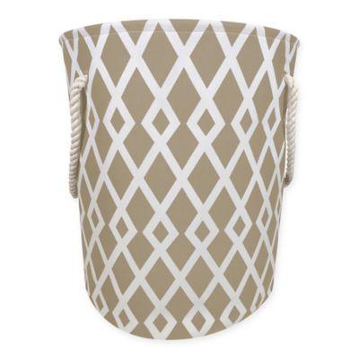 Diamond Print Canvas Fabric Hamper in Tan/White