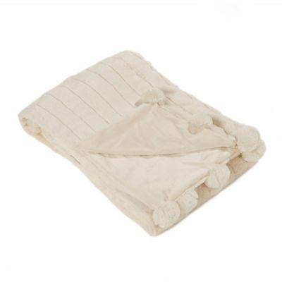 Luxe Mink Faux Fur Pom Pom Throw Blanket in Cream