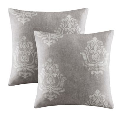 Madison Park Montclair Textured Damask Printed Square Pillow in Grey (Set of 2)