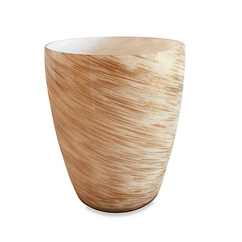 Murano gold wastebasket bed bath beyond for Gold bathroom wastebasket