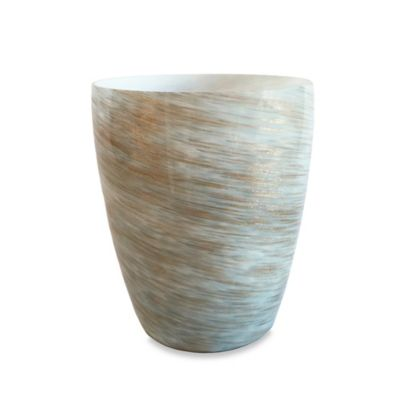 Buy murano gold wastebasket from bed bath beyond for Gold bathroom wastebasket