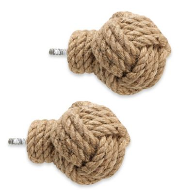 Cambria® Premier Complete Jute Knot Finials (Set of 2)