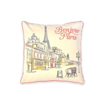 """Bonjour Paris"" City Square Throw Pillow"