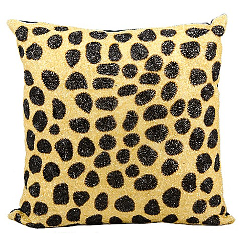 Black Beaded Throw Pillow : Mina Victory Luminescence Beaded Leopard 20-Inch Square Throw Pillow in Beige/Black - Bed Bath ...