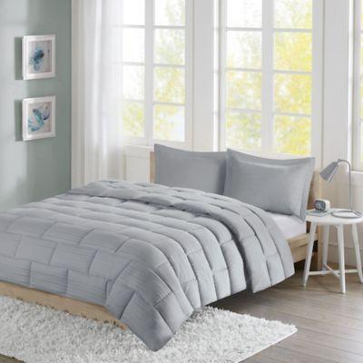 Intelligent Design Avery Seersucker Down Alternative Twin Comforter Mini Set in Grey