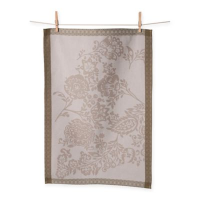 Porto Jacquard Floral Paisley Kitchen Towels in Grey/Brown (Set of 2)