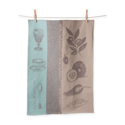 European Jacquard Mediterranean Home Kitchen Towel in Teal (Set of 2)
