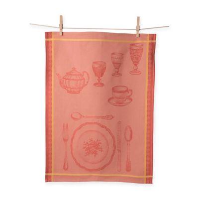 Porto Jacquard Formal Setting Kitchen Towel in Orange (Set of 2)