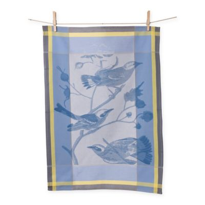 Porto Jacquard Birds Kitchen Towel in Blue/Yellow (Set of 2)