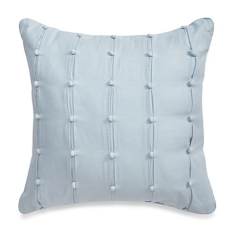Dusty Blue Decorative Pillows : Real Simple Anya Pompom Square Throw Pillow in Dusty Blue - Bed Bath & Beyond