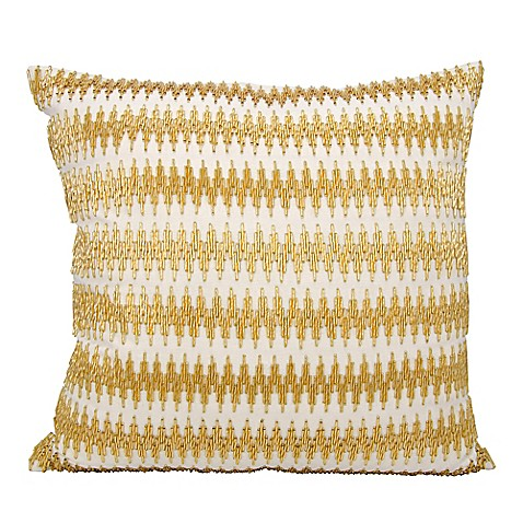Buy Mina Victory Beaded Chevron 20-Inch Square Throw Pillow in Light Gold from Bed Bath & Beyond