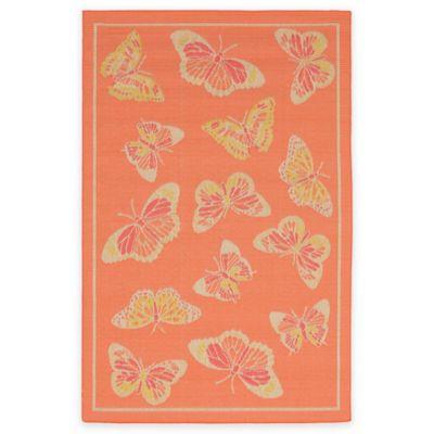 Liora Manne Playa Butterfly 1-Foot 11-Inch x 2-Foot 11-Inch Indoor/Outdoor Accent Rug in Orange