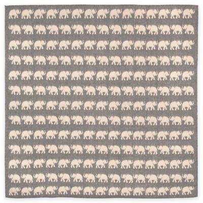 Liora Manne Terracotta Elephant 7-Foot 10-Inch Round Indoor/Outdoor Area Rug in Silver