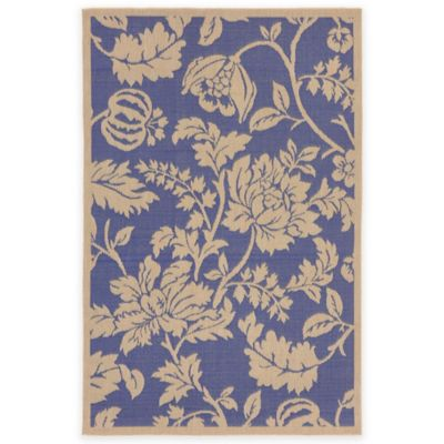 Liora Manne Terracotta Floral 7-Foot 10-Inch Round Indoor/Outdoor Area Rug in Blue