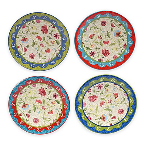 Certified international anabelle canap plates set of 4 for Canape plate sets