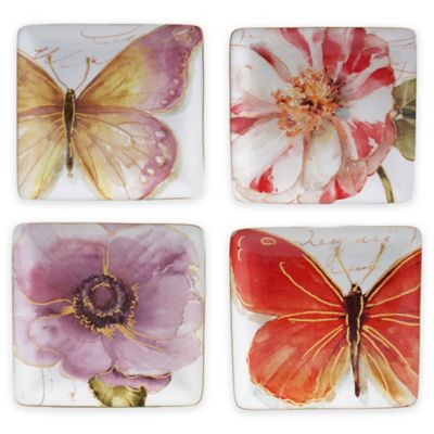 Certified International Rainbow Seeds Canapé Plates (Set of 4)