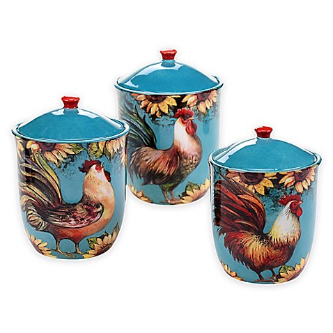 certified international sunflower rooster 3 piece canister rooster canister set country kitchen storage decor 4 pc