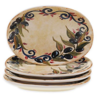 Buy certified international capri canap plates set of 4 for Canape plate size