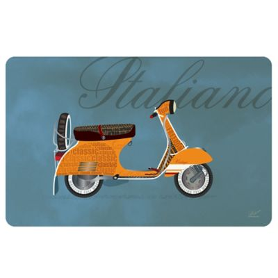 The Softer Side by Weather Guard™ 18-Inch x 27-Inch Vintage Vespa Kitchen Mat in Orange
