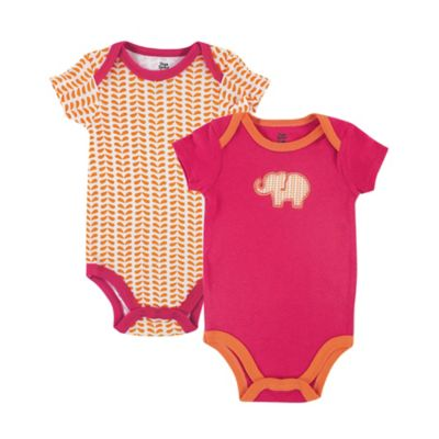 BabyVision® Yoga Sprout Size 6-9M 2-Pack Elephant Bodysuit in Pink/Orange