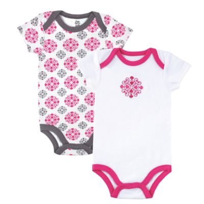 BabyVision® Yoga Sprout Size 3-6M 2-Pack Medallion Bodysuit in Grey/Pink