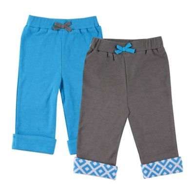 BabyVision® Yoga Sprout Size 6-9M 2-Pack Elephant Pant in Blue/Grey