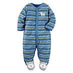 carter's® Size 3M Fox Terry Snap-Up Sleep & Play Footie in Blue