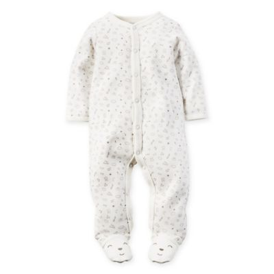 carter's® Size 6M Snap-Front Sketch Print Footie in Ivory