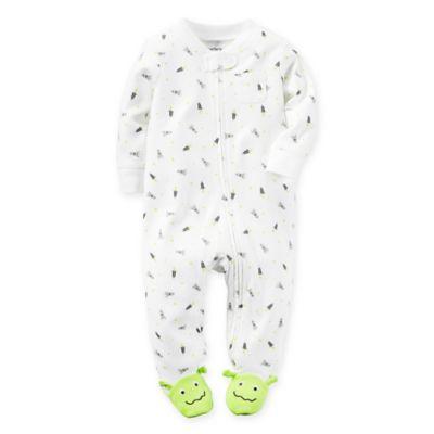 carter's® Newborn Zip-Front Rockets and Aliens Footie in White/Green