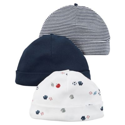 carter's® Babysoft Sports 3-Pack Hats in Blue