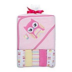 Cutie Pie® 6-Piece Owl Towel and Washcloth Set in Pink