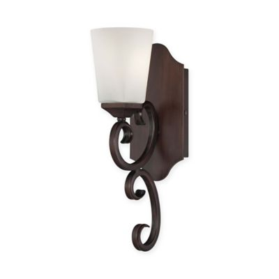 Savoy Nayah Wall Mount Light Sconce in Espresso with White Shade