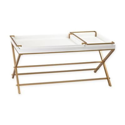 Sterling Industries Coffee Table with Trays in Gold/White