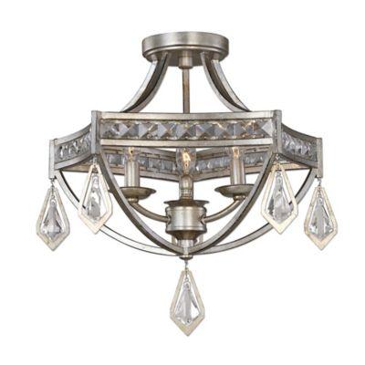 Uttermost Tamworth 3-Light Semi-Flush Mount Ceiling Fixture in Silver Champagne