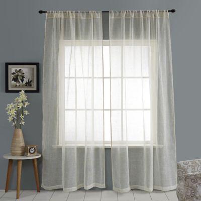Open Weave Linen Sheer 108-Inch Rod Pocket Window Curtain Panel in Chocolate