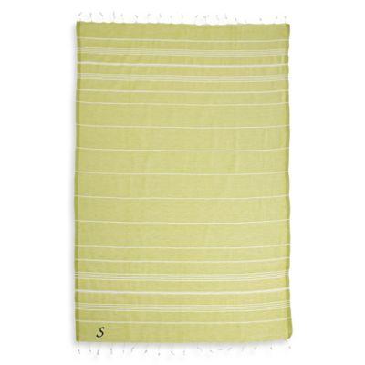 "Linum Home Textiles Lucky Monogram Script Letter ""A"" Pestemal Beach Towel in Lime Green"