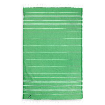 "Linum Home Textiles Lucky Monogram Script Letter ""A"" Pestemal Beach Towel in Emerald"