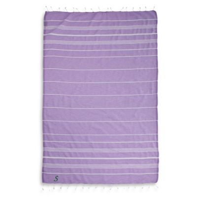 "Linum Home Textiles Lucky Monogram Script Letter ""A"" Pestemal Beach Towel in Lilac"