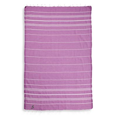 "Linum Home Textiles Lucky Script Monogram Letter ""X"" Pestemal Beach Towel in Violet"