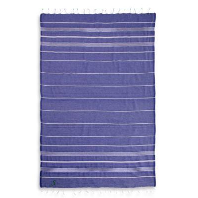 "Linum Home Textiles Lucky Monogram Script Letter ""A"" Pestemal Beach Towel in Purple"