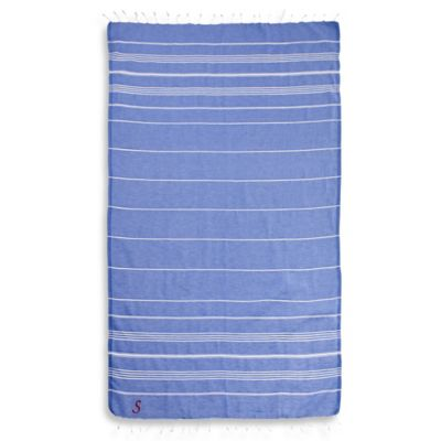 "Linum Home Textiles Lucky Monogram Script Letter ""A"" Pestemal Beach Towel in Royal Blue"