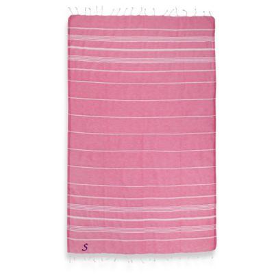 "Linum Home Textiles Lucky Monogram Script Letter ""A"" Pestemal Beach Towel in Pretty Pink"