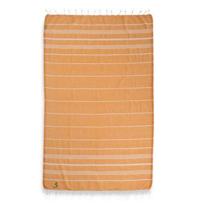 "Linum Home Textiles Lucky Monogram Script Letter ""A"" Pestemal Beach Towel in Melon Orange"