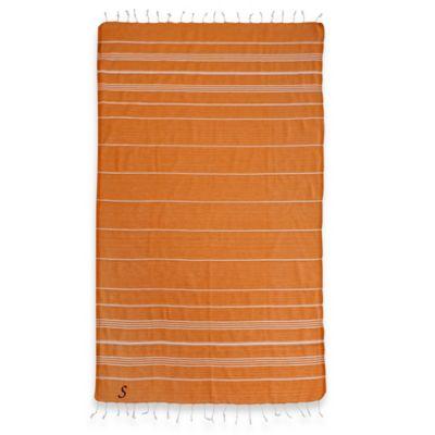 "Linum Home Textiles Lucky Monogram Script Letter ""A"" Pestemal Beach Towel in Dark Orange"