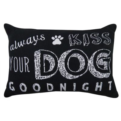 "Park B. Smith® Vintage House ""Always Kiss Your Dog Goodnight"" Oblong Throw Pillow in Black/White"