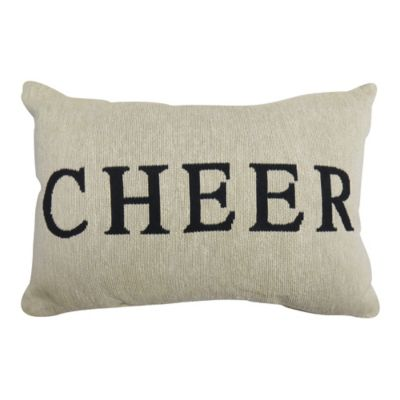 """Park B. Smith® Vintage House """"Cheer"""" Oblong Throw Pillow in Natural/Black"""