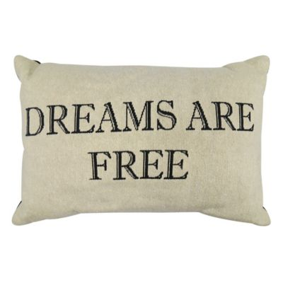 """Park B. Smith® Vintage House """"Dreams Are Free"""" Oblong Throw Pillow in Natural/Black"""