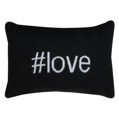 """Park B. Smith® Vintage House """"#Love"""" Oblong Throw Pillow in Black"""