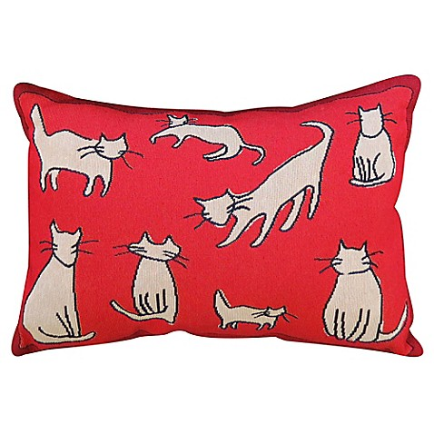 Park B Smith 174 Vintage House Cat Group Oblong Throw Pillow