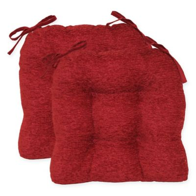 Crown Chenille Tufted Chair Pads in Red (Set of 2)